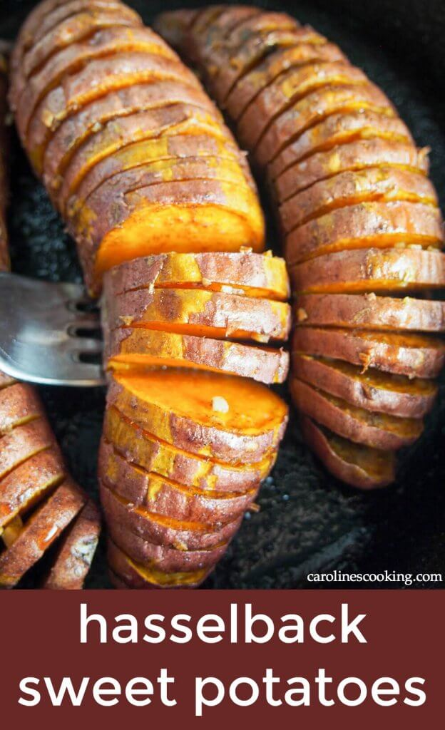 Hasselback sweet potatoes might sound and look a little fancy, but they're really so easy to make (especially with the little trick I show you!). Here they're brushed with oil mixed with cinnamon, garlic & maple for delicious flavors and a wonderful caramelization on the bottom. So good!