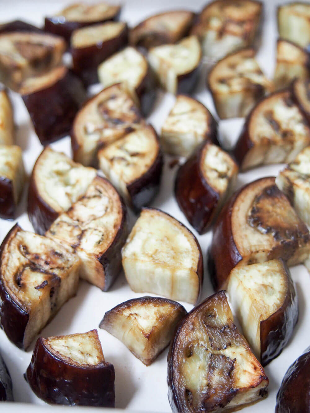 roasted eggplant for Moroccan eggplant with chermoula