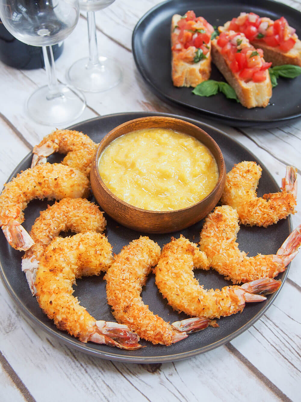 Baked coconut shrimp with mango dipping sauce