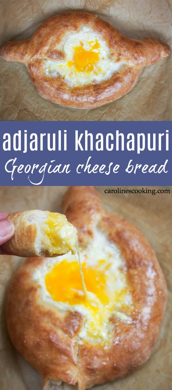 If you've not heard of adjaruli khachapuri, let me sum it up in a few words: fresh bread, filled with cheese and an egg on top. This comforting Georgian cheese bread is sure to be an instant hit (and is easier than you might think). #cheesebread #georgiancheesebread #cheeseboat #cheese #homemadebread