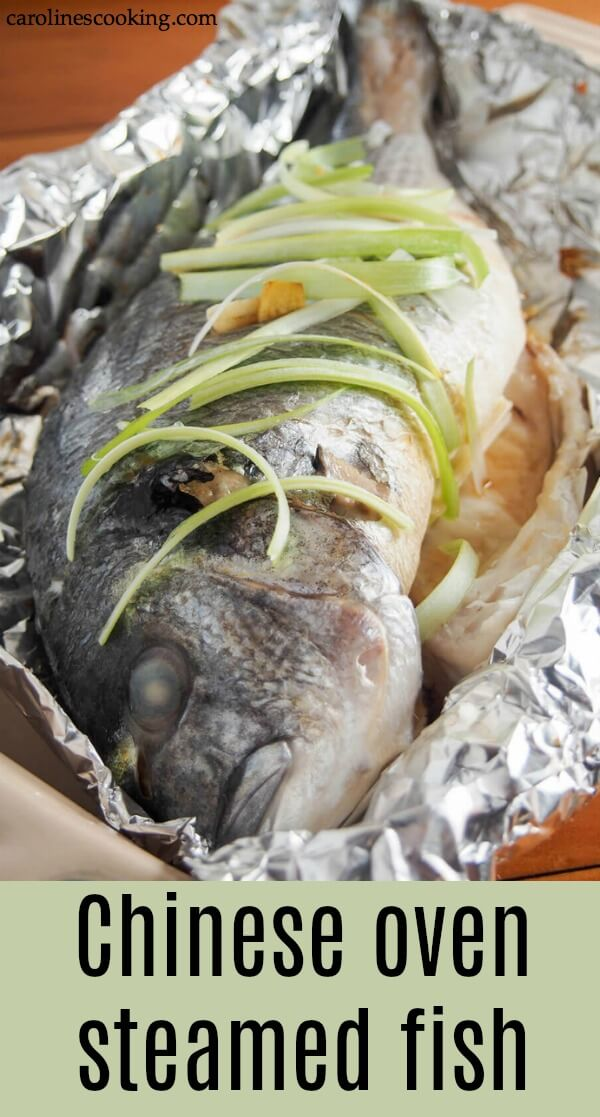 Steamed whole fish is a classic Chinese way to prepare it. But don't worry about not having a large steamer, you can make this delicious Chinese oven steamed fish with plain old foil. The result is wonderfully tender fish perfect any time. #wholefish #ovensteamedfish #Chinesefish