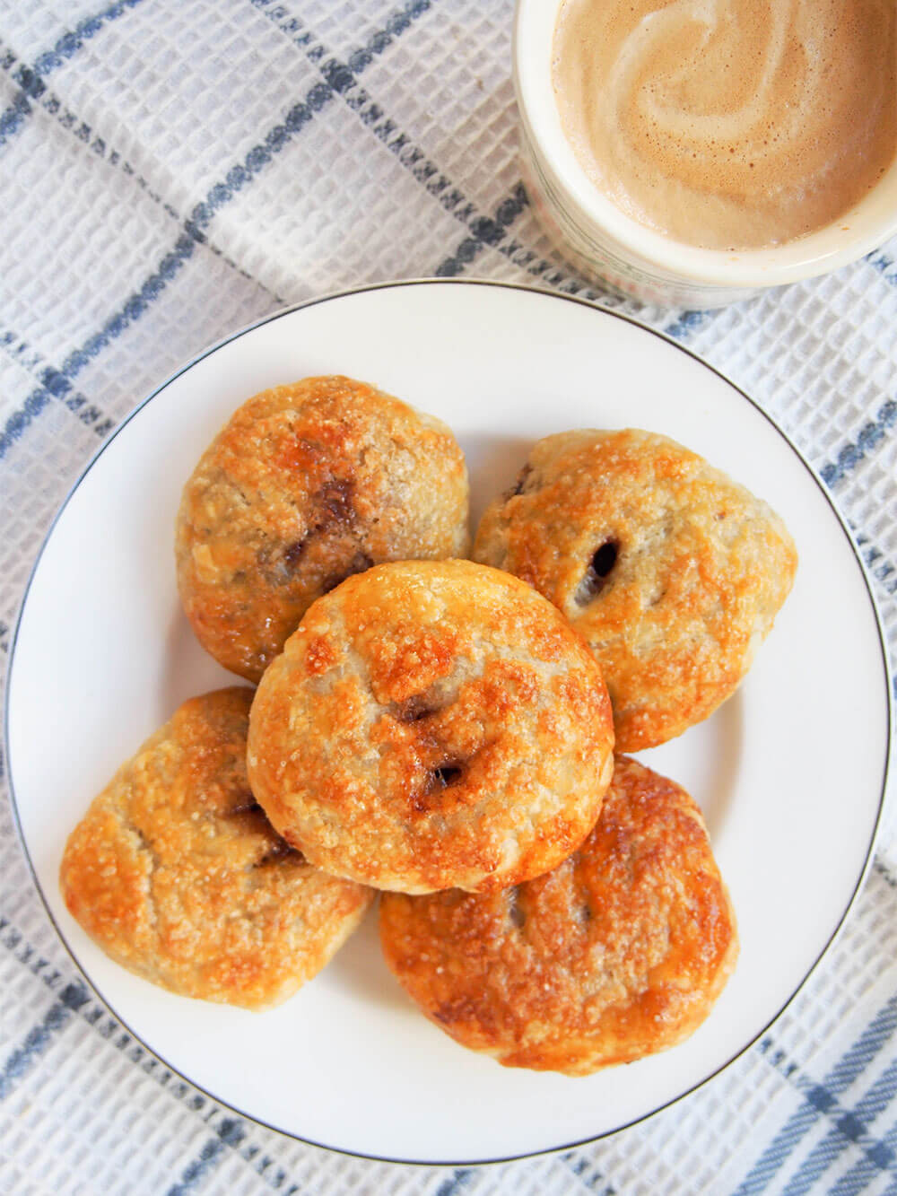 plate of Eccles cakes - crisp currant filled pastries from above