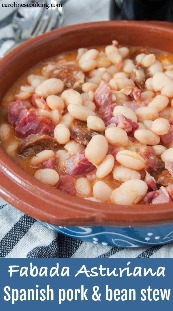 You may well have heard of cassoulet - well fabada Asturiana is it's Northern Spanish cousin. A hearty, warming white bean stew with lots of porky goodness, it's incredibly easy and perfect for a cold day. #porkandbeans #fabada #Spanishfood #porkandbeanstew