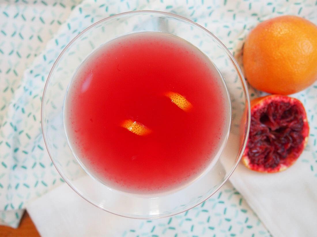 blood orange bees knees cocktail