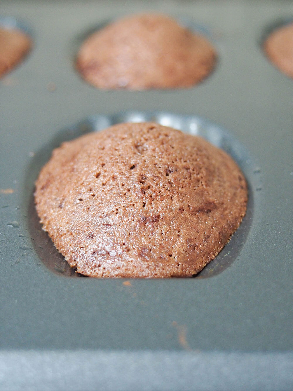 chocolate madeleines straight out the oven with clear 'hump'