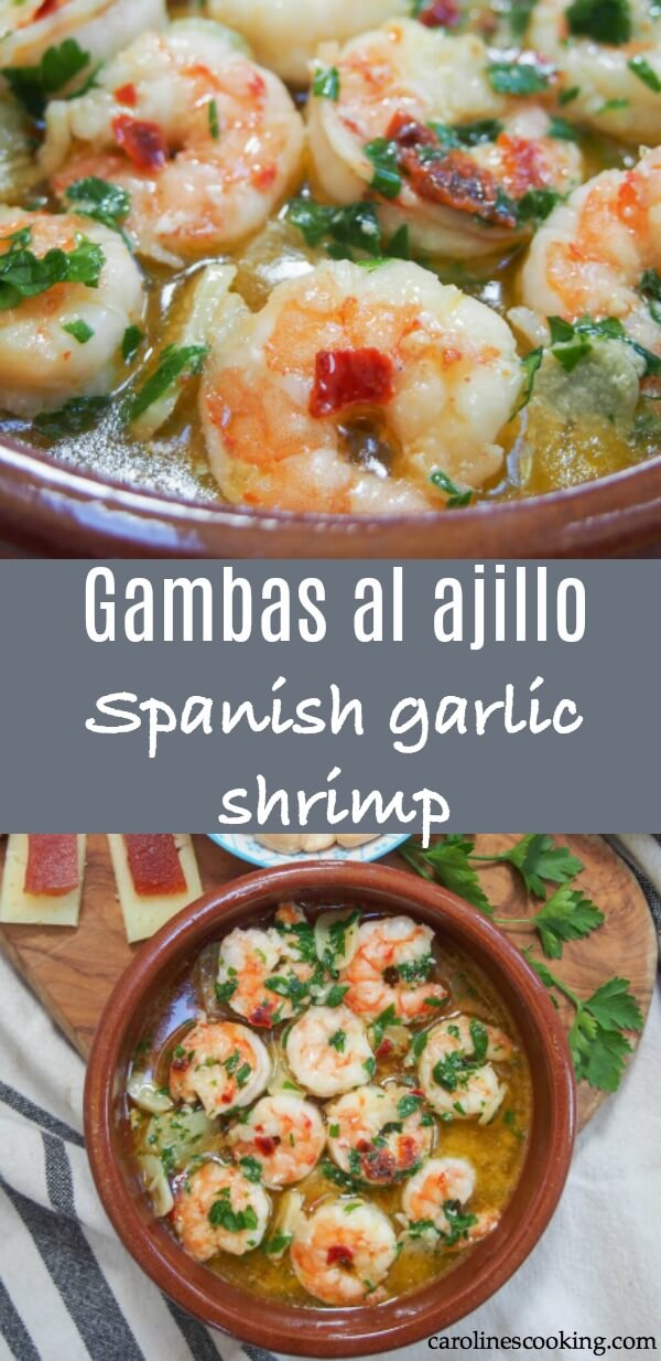 Gambas al ajillo are a super simple Spanish tapas that is one of the best known and best loved. And for good reason - these garlic shrimp are delicious! Easy to make and so versatile in how you enjoy them. #garlicshrimp #spanishtapas