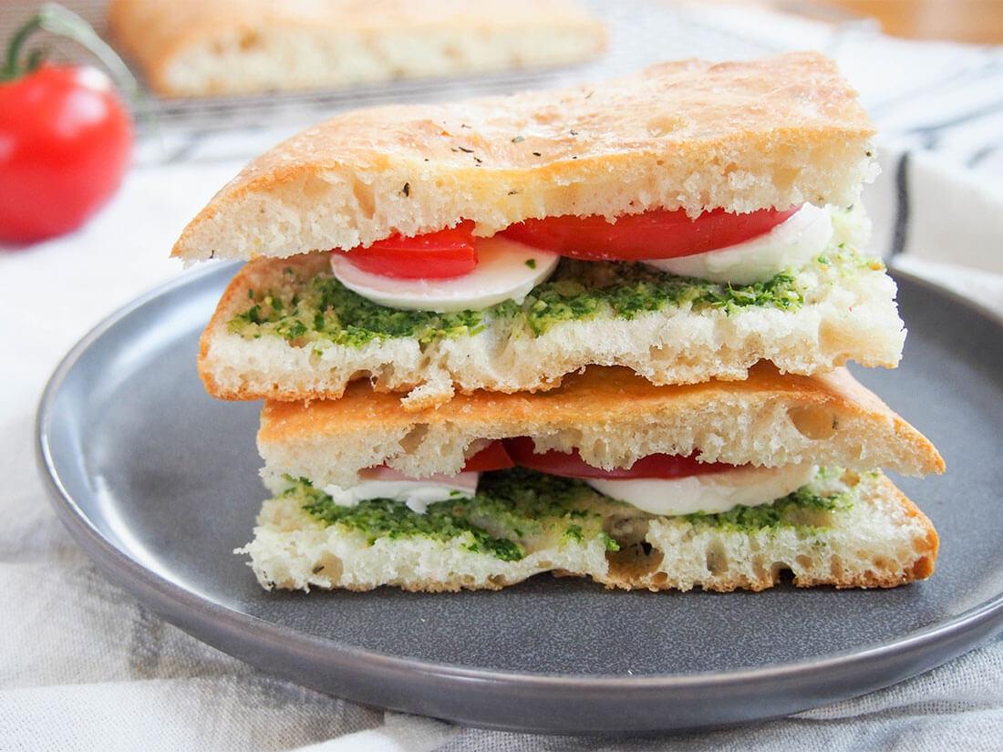 Caprese Focaccia Sandwich Caroline S Cooking