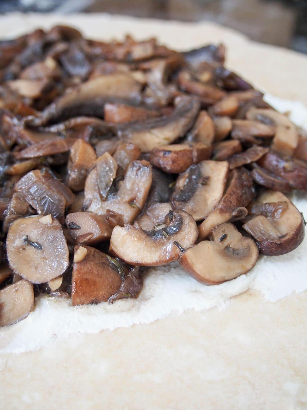 adding mushroom layer to mushroom galette