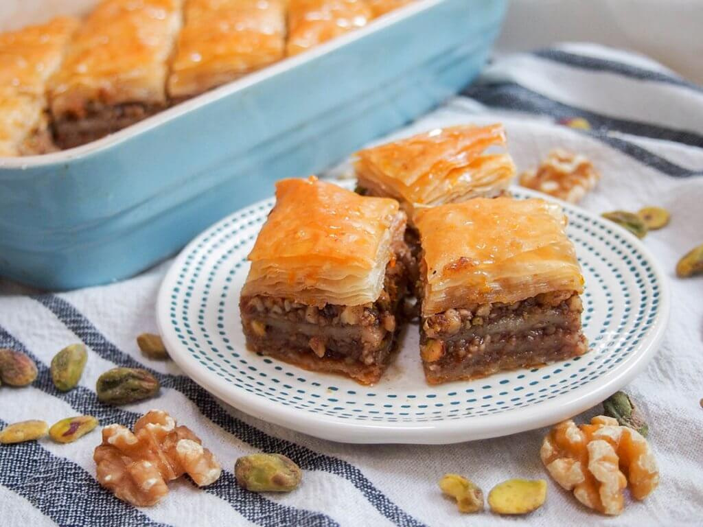 baklava pieces on small plate