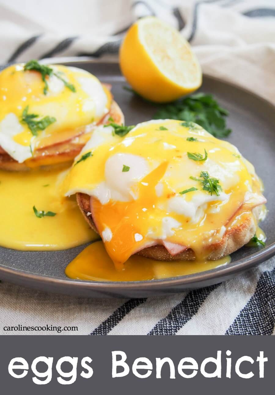 Eggs Benedict is a staple on brunch menus: the combination of bacon/ham, egg and Hollandaise sauce over an English muffin is so comforting and delicious. And it's easier than you might think to make at home! #eggs #eggsbenedict #brunch