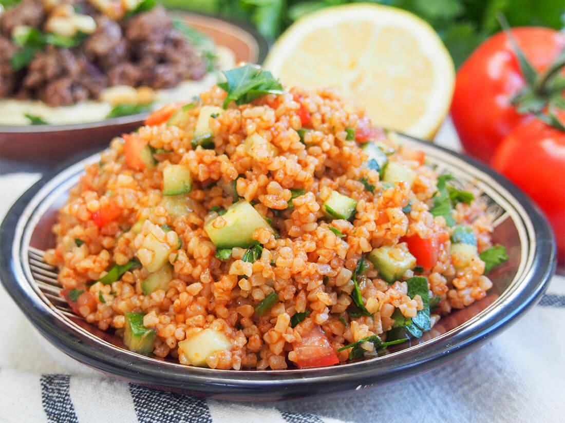 kisir Turkish bulgur salad on plate