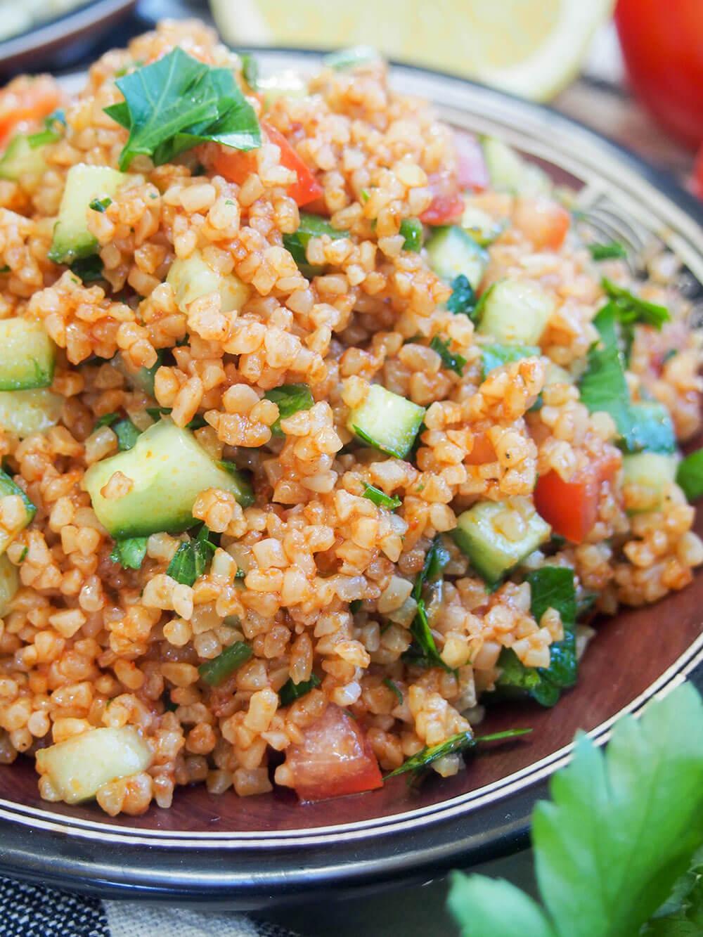 kisir Turkish bulgur salad close up