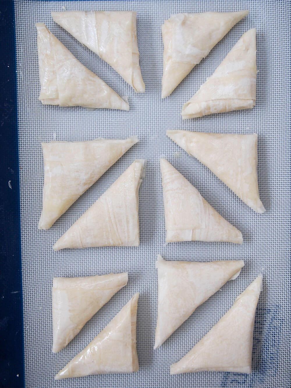 tiropita Greek cheese pastries ready to bake