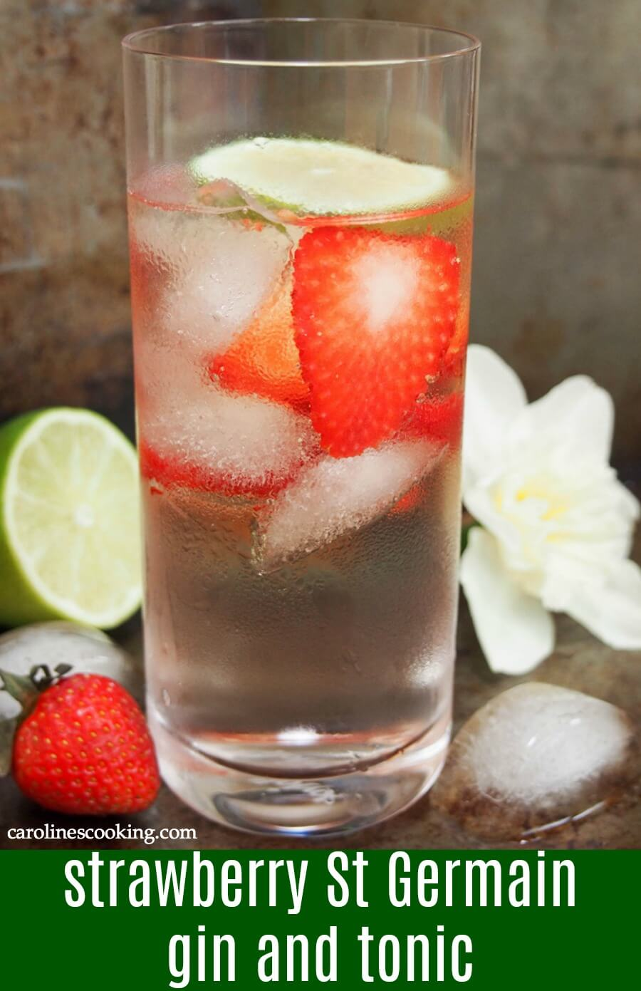 This strawberry St Germain gin and tonic is a simple twist on the classic, adding a dash of floral flavor and brightness to the glass. It's the perfect light cocktail for spring or summer sipping. #ad #brunchweek #cocktail #ginandtonic