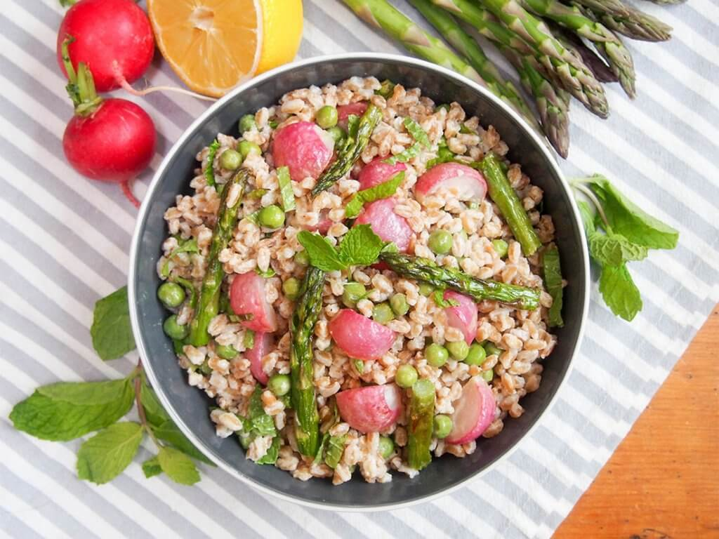 Roasted spring vegetable farro salad