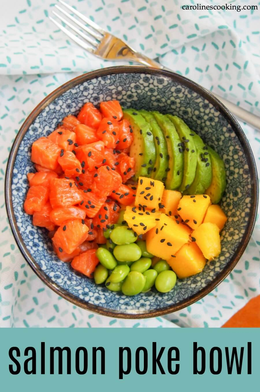 If you're a fan of healthy, fresh ingredients and quick meals, this salmon poke bowl is perfect for you! So easy to make, it comes together in no time and has so many possibilities to customize. #pokebowl #30minutemeal #seafood #rawfood #salmon