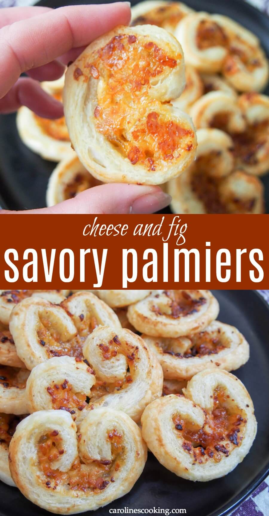 These savory palmiers need only 3 ingredients (puff pastry, cheese and fig preserves) but they are transformed into a delicious sweet-savory, crispy snack. Perfect for a party or any excuse you want to find! #brunchweek #ad #savorypalmiers #cheesepastry
