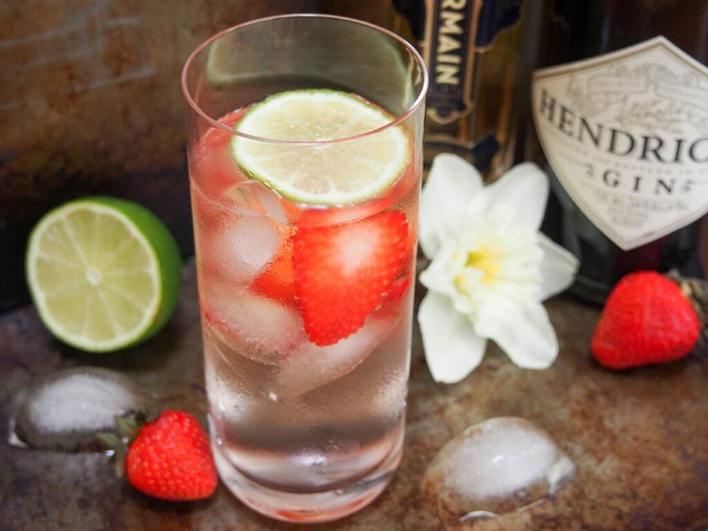 Strawberry St Germain gin and tonic
