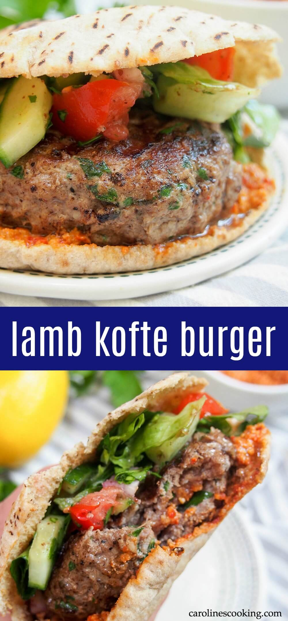 This lamb kofte burger is the perfect burger for when you want something that bit different. Not only are the flavors delicious, but you can cheat a little with ready-made components, or make it more from scratch as time allows. #lambburger #middleeasternfood #kofte #pita #burgermonth
