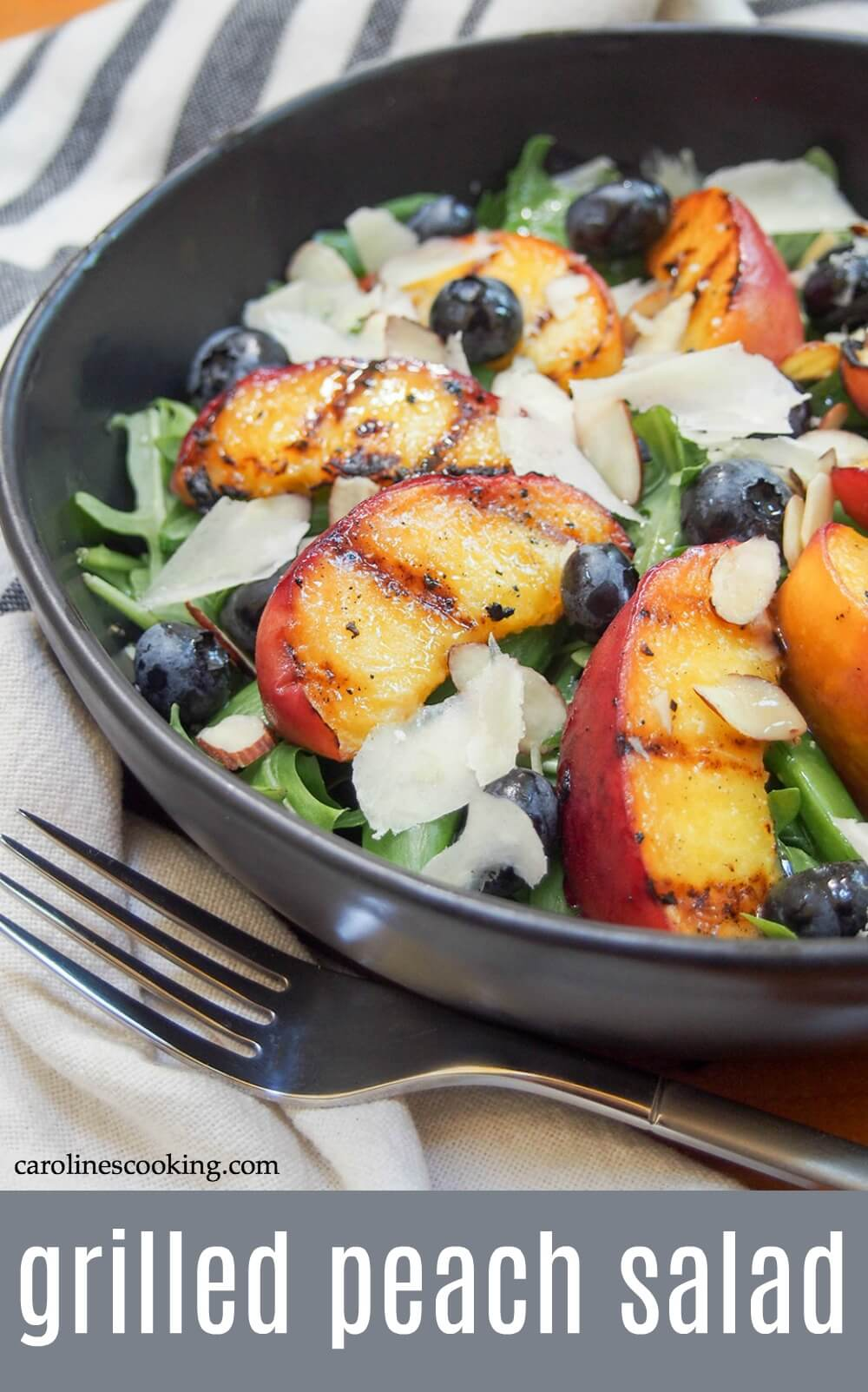 This grilled peach salad has a little sweet, a little savory, tender fruit and crunchy veg. Grilling peaches really brings out their flavor, and while they make a great dessert, they're also perfect as part of a salad. This simple combination takes no time to put together and is colorful and tasty, plus easily made vegan. A delicious, light and easy summer salad that's perfect for lunch or as a side. #summersalad #grilledpeach #vegetarian