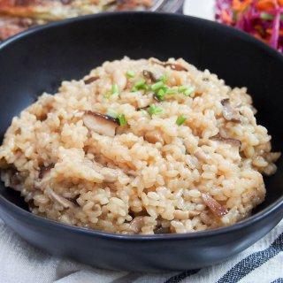 Japanese mushroom rice (kinoko gohan) in bowl