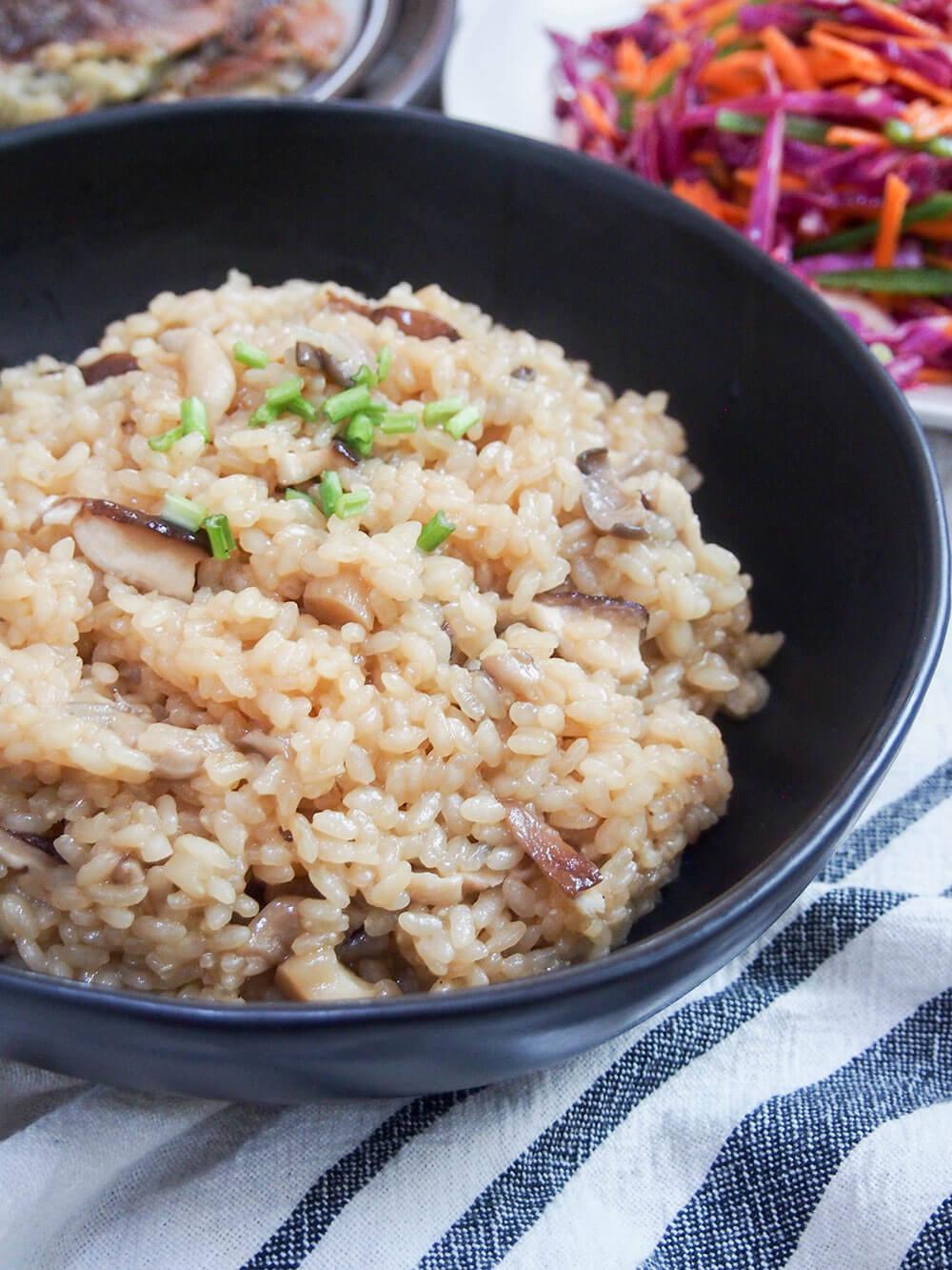 Japanese mushroom rice kinoko gohan, with other dishes behind