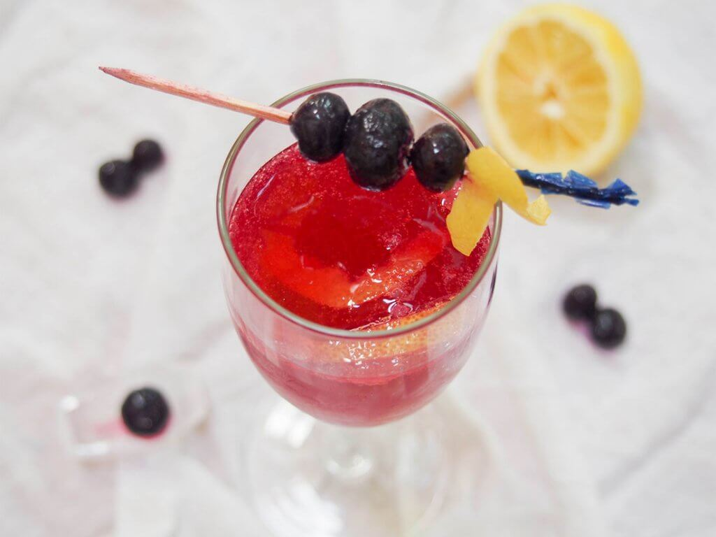Blueberry French 75 cocktail with blueberry garnish