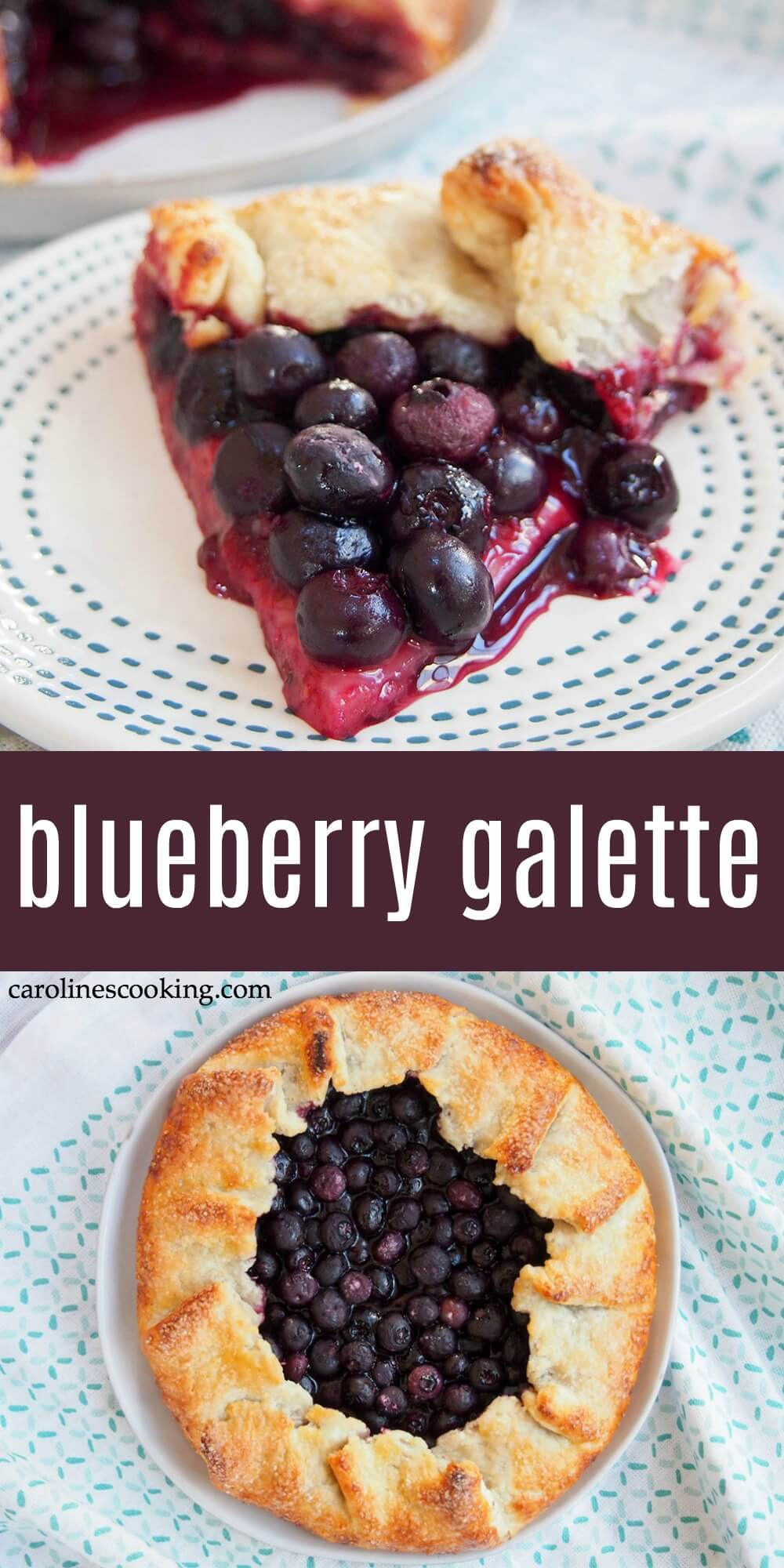 Don't think the name blueberry galette means this is fancy or difficult. This rustic free form tart is easy to make and so delicious. Crisp, tasty and oozing with berries. #blueberry #galette #dessert #blueberrytart