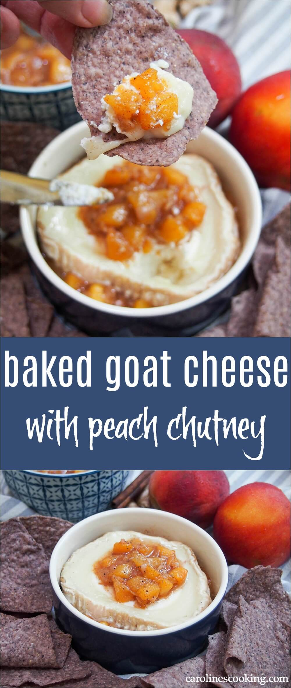 Change up your cheesy appetizer with this easy and tasty baked goat cheese with peach chutney. A delicious mix of flavors, it's great with chips, crackers and bread. It takes mere minutes to make and is great whether for entertaining or just because! #goatcheese #bakedcheese #chutney #appetizer