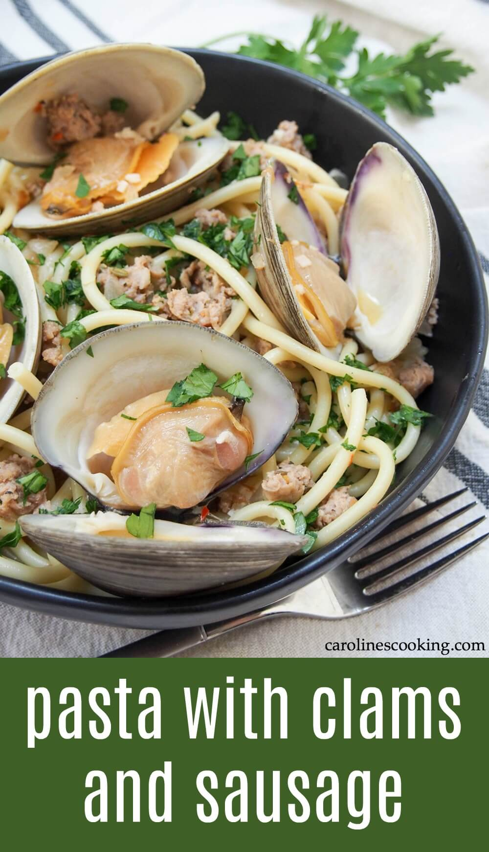 With a bit of a kick from the spicy sausage and delicate clams, all tied together with wine and garlic and delicious Garofalo Pasta, this dish is an easy fancy-feeling meal! You don't need too many ingredients to make this quick meal which is a tasty way to change up pasta night. #ad #pasta #clams #italianfood #LetOurItalyIn #PastaGarofaloUSA