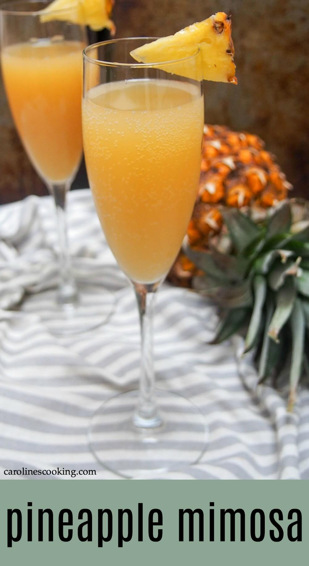 Add some tropical flair to brunch with this pineapple mimosa. It's light, fruity and easy to make. And the little twist in here makes all the difference! This champagne cocktail is perfect as a brunch cocktail, for a bridal shower or parties. #mimosa #champagne #pineapple