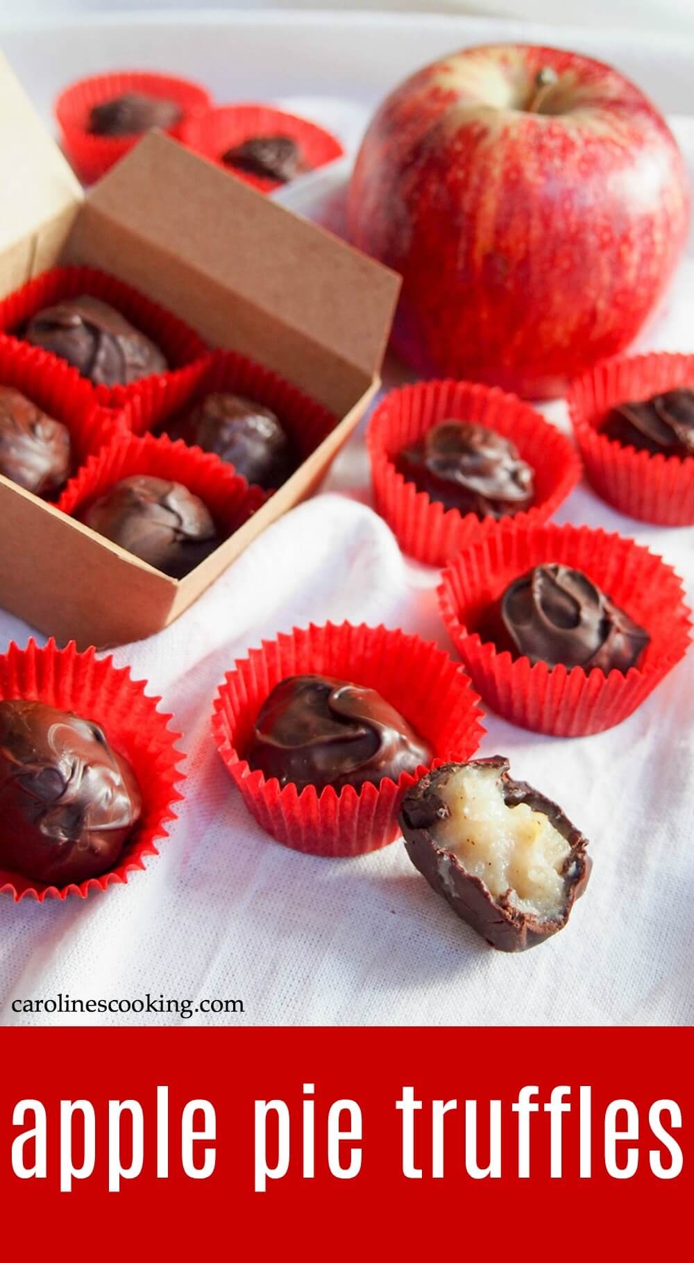 These apple pie truffles are a wonderful fall, or anytime treat. With a delicate apple flavor, they're soft, sweet, rich and delicious! Great for gifting as well. #truffle #homemadechocolate #appleweek