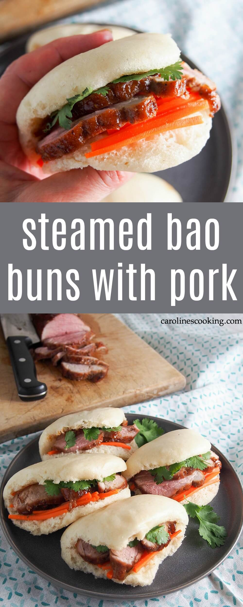 These steamed bao buns with pork are a delicious feast for the senses! With tender pork tenderloin, crunchy veg and a pillowy soft bun, they're a handheld treat perfect as an appetizer or light meal. #bao #pork #chinesepork #ad