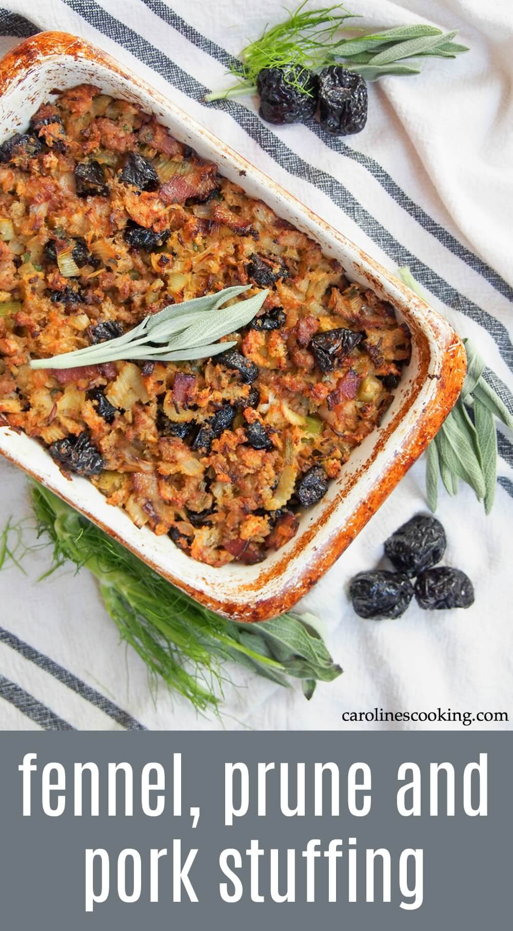 This fennel, prune and pork stuffing is easy to put together with a delicious combination of savory flavors with little bursts of sweet prune mixed in. A wonderful accompaniment to a festive meal.