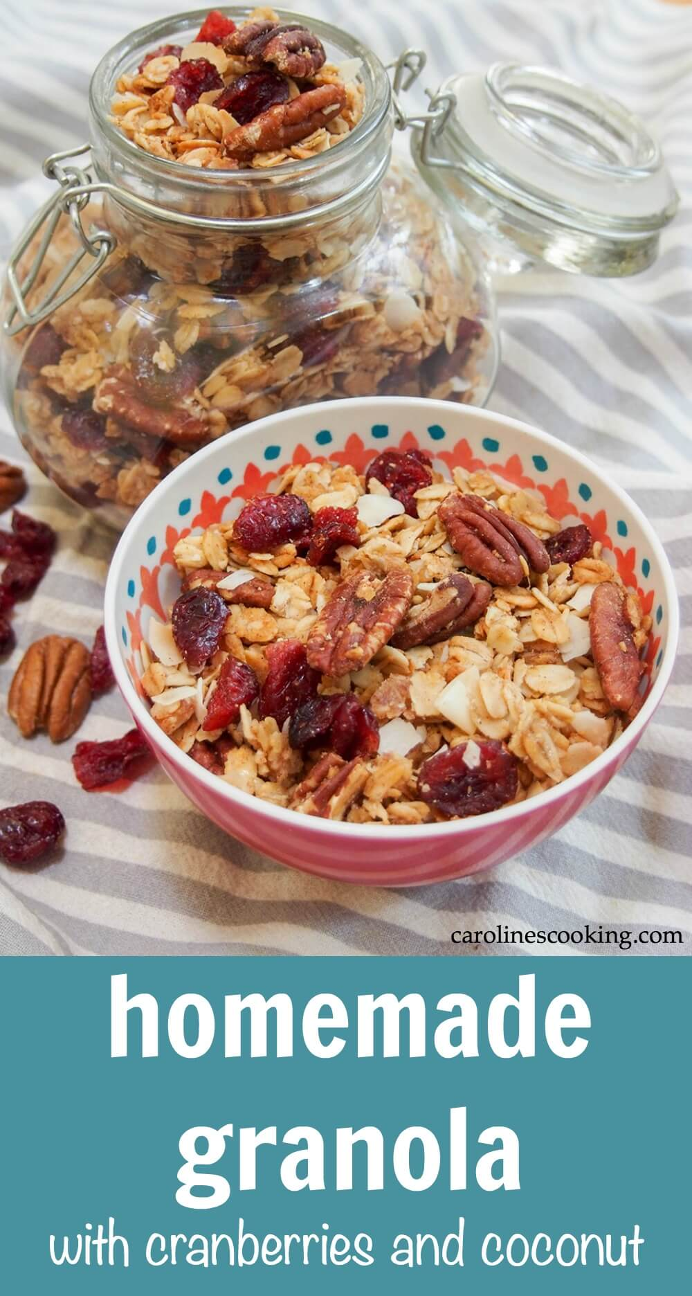 It's easier than you might think to make granola (and healthier). This easy homemade granola recipe is naturally sweetened and loaded up with cranberries, pecans and coconut. Crunchy delicious! #granola #healthy #breakfast #cranberry #cranberryweek