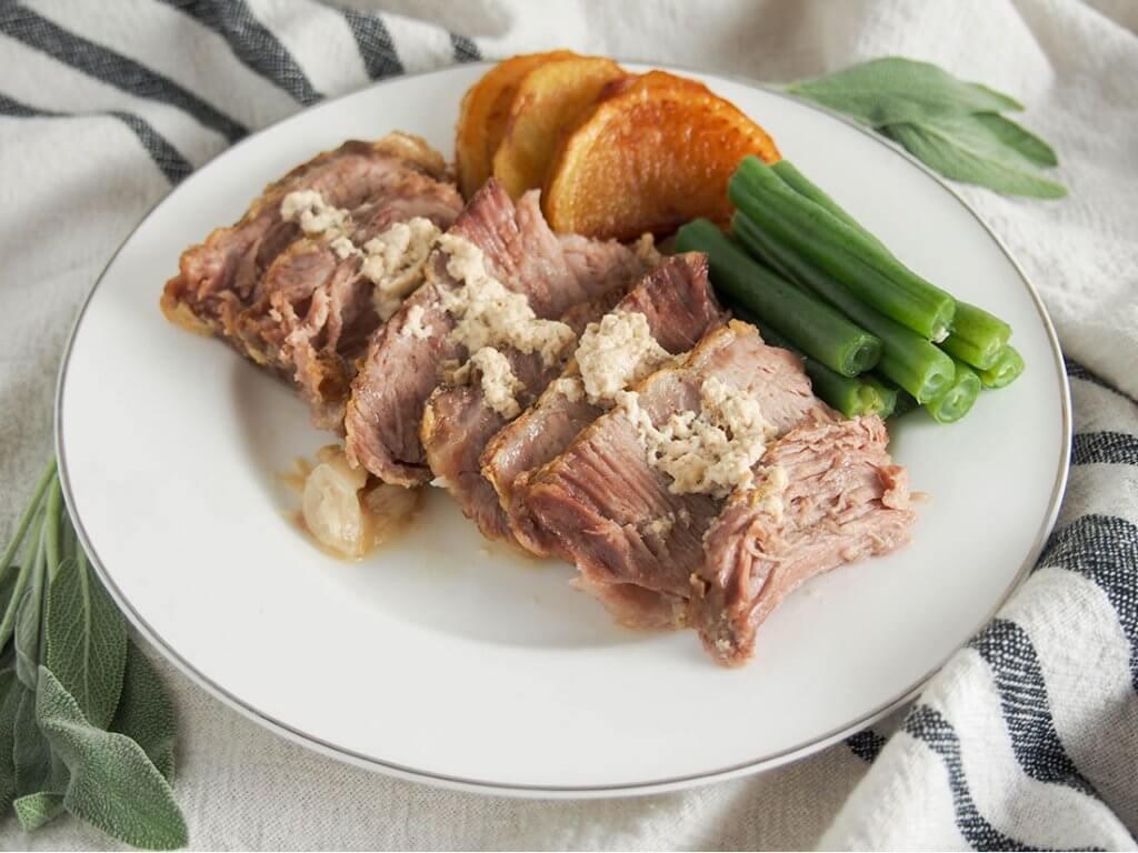 Milk-braised pork (maiale al latte) on plate