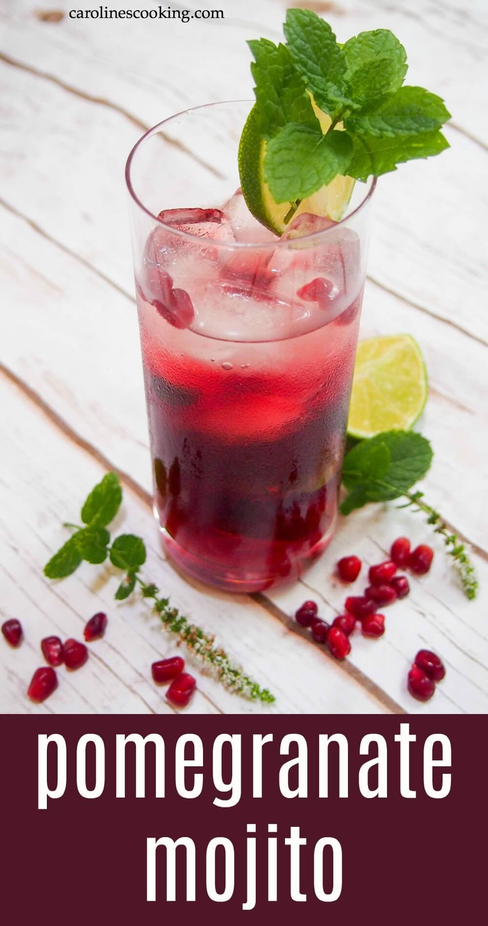 This pomegranate mojito is an easy and flavorful twist on a classic cocktail. With a beautiful bright color, it makes a great festive drink or any excuse! #pomegranate #mojito #mint #rum #cocktail