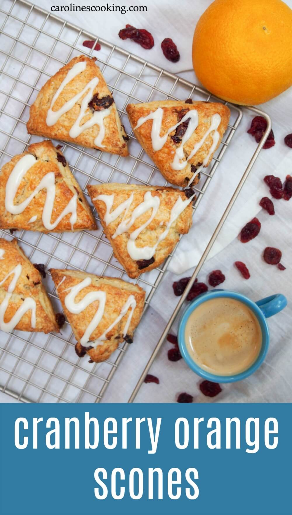 These cranberry orange scones are an easy, tasty treat. With delicate flavors and a tender crumb, they're the perfect snack alongside a cup of coffee or tea. #cranberryweek #scone #baking