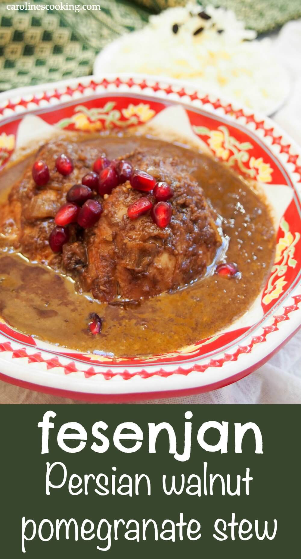Fesenjan is an easy and delicious Persian stew. The pomegranate and walnut sauce makes it hearty and with an unusual sweet-tangy flavor. Here it's made with chicken, but you can use other meats as well (or veg). Plus, it's great to make ahead so perfect for meal prep. #persian #stew #pomegranate #walnut