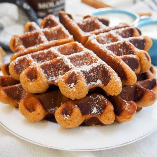 two gingerbread waffles on plate