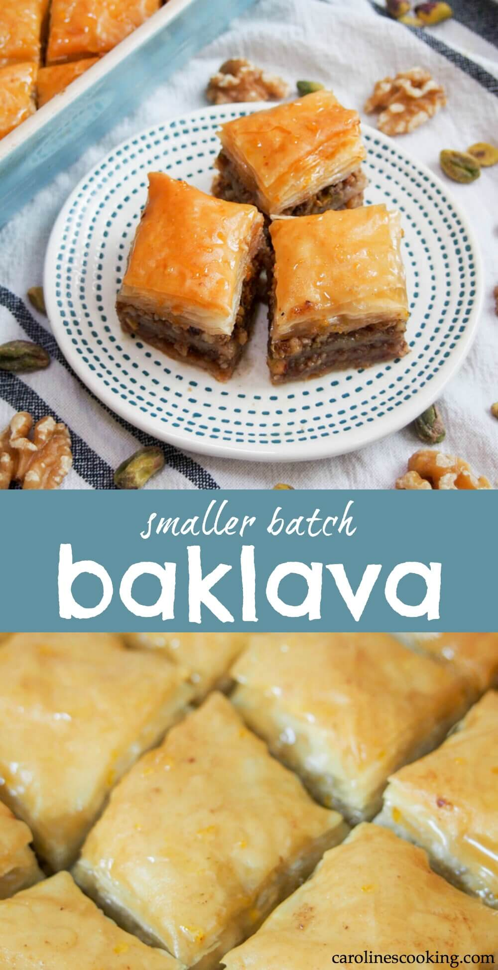 Baklava is such a classic sweet treat enjoyed in Greece, Turkey and across the broader Eastern Med. The combination of sticky, crisp pastry and nuts is addictively good! This baklava recipe will guide you through making a smaller batch, perfect for when you don't need a huge quantity. #baklava #greek #filo #pastry #walnut