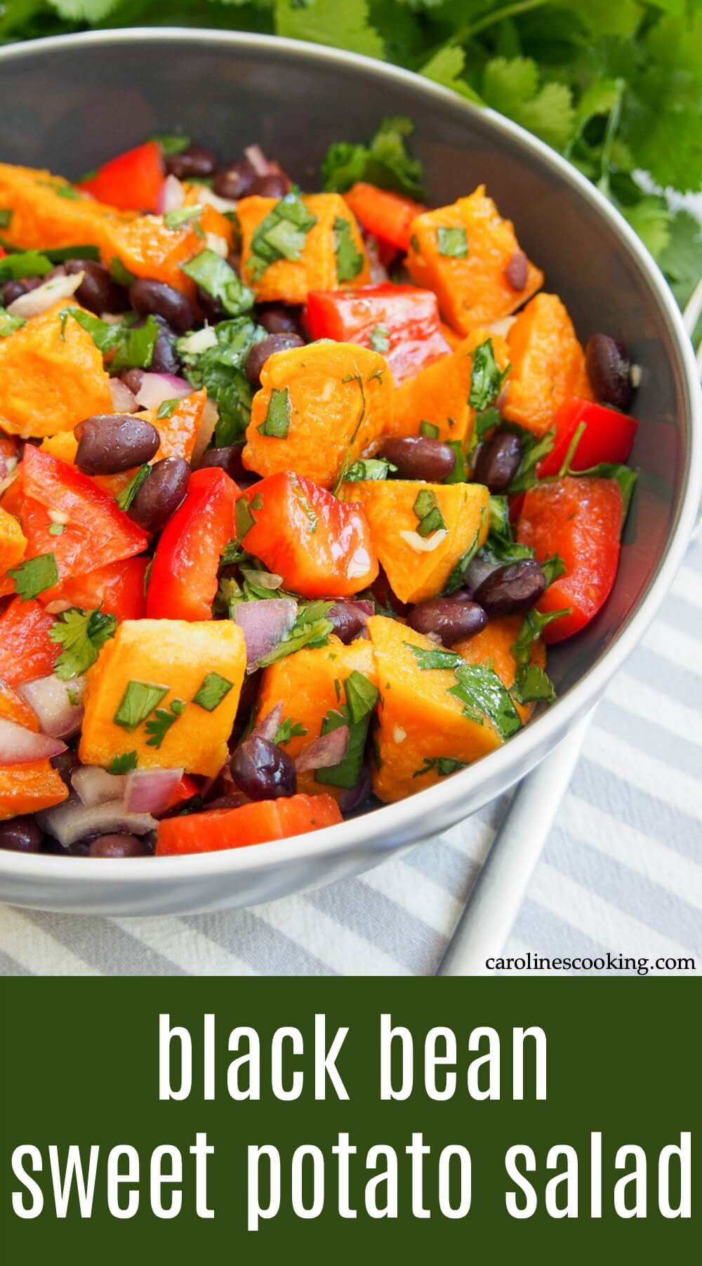 This black bean sweet potato salad is bright, hearty without being heavy, and with delicious fresh flavors. It's perfect for lunch, or as a side and travels well, too. #salad #sweetpotato #vegetarian #vegan #healthyeating