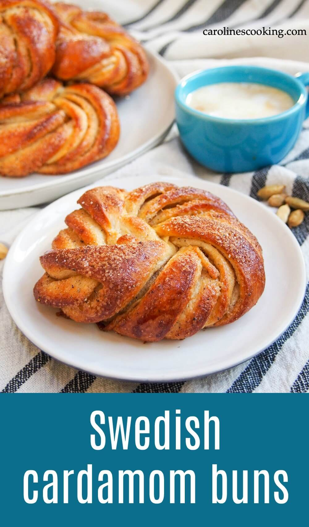 Swedish cardamom buns are like a cross between a cinnamon roll and a pull apart bread. They're light, packed with delicious flavor, and a beautiful addition to any brunch or coffee table. #baking #cardamom #bread #brunch 