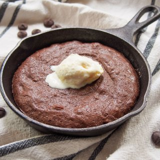 mini skillet cookie with ice cream on top