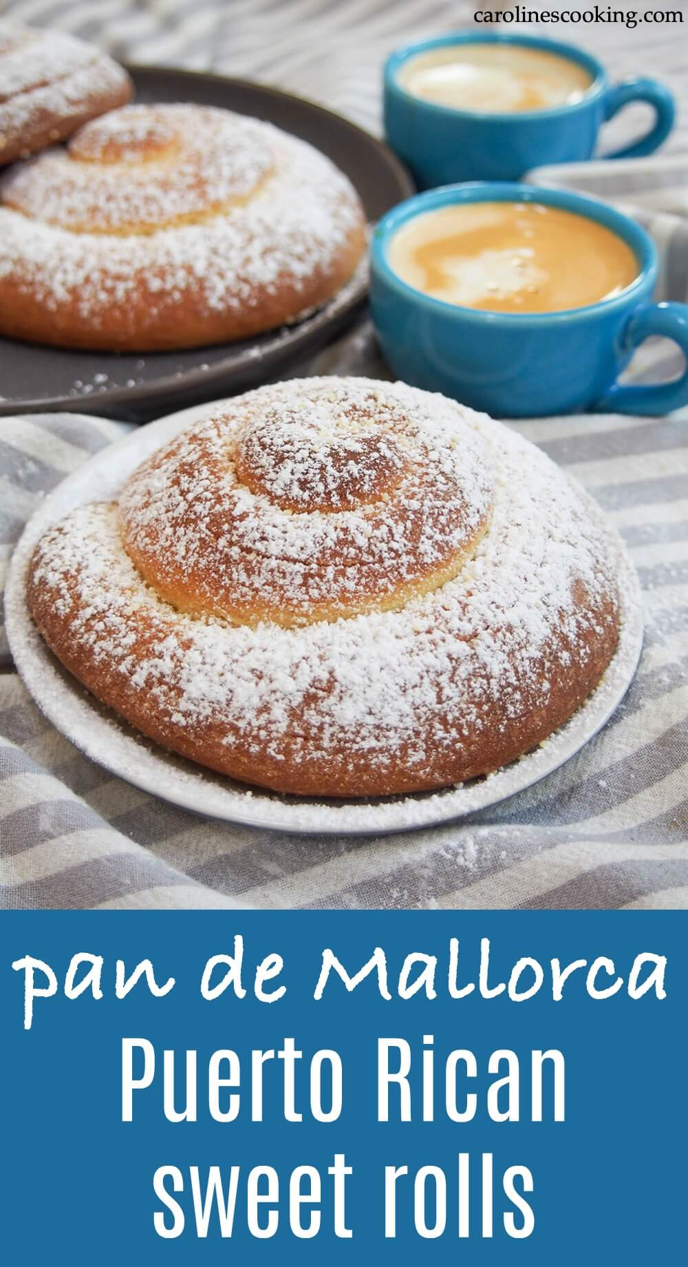 Pan de Mallorca are an egg-rich but light-textured, gently sweet bread roll from Puerto Rico. They're easy to recognize, coiled up and dusted with sugar, and make a delicious breakfast or snack. #sweetroll #puertoricanfood #bread #homemadebread