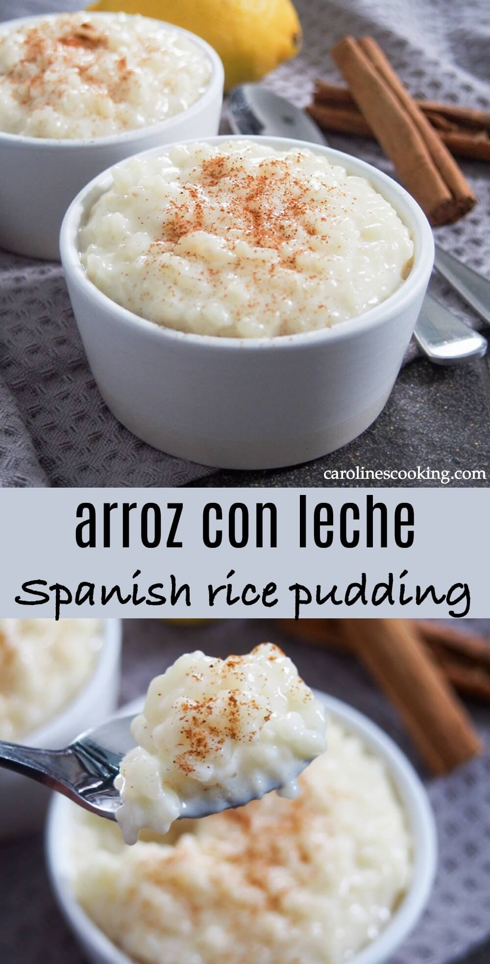 Arroz con leche, Spanish rice pudding, is an easy and comforting dessert. With warm cinnamon and fresh lemon flavors mixed in with the creamy rice, it's the perfect end to any meal. #ricepudding #dessert #spanishfood