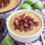 bowl of Brussel sprout soup with bacon
