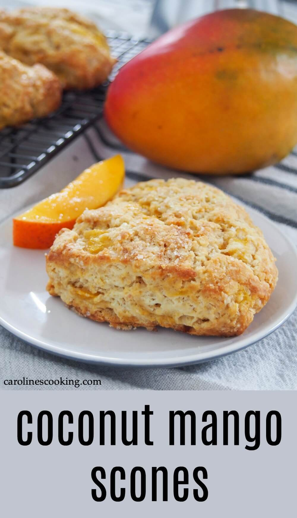 Bite into a taste of the tropics with these delicious coconut mango scones. They're tender inside and crisp outside, packed with juicy fruit and easy to make too. Perfect with your morning coffee, or any excuse. #coconut #mango #scones #baking