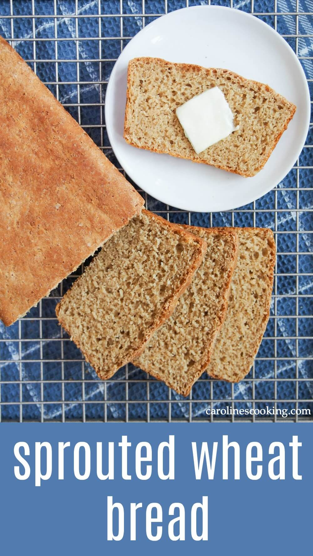 If you haven't heard of sprouted wheat bread, it's time to get familiar! This loaf is easy to make, tender with a slight almost nutty sweetness. And it's packed with goodness too! A great introduction to baking with sprouted grains. #baking #bread