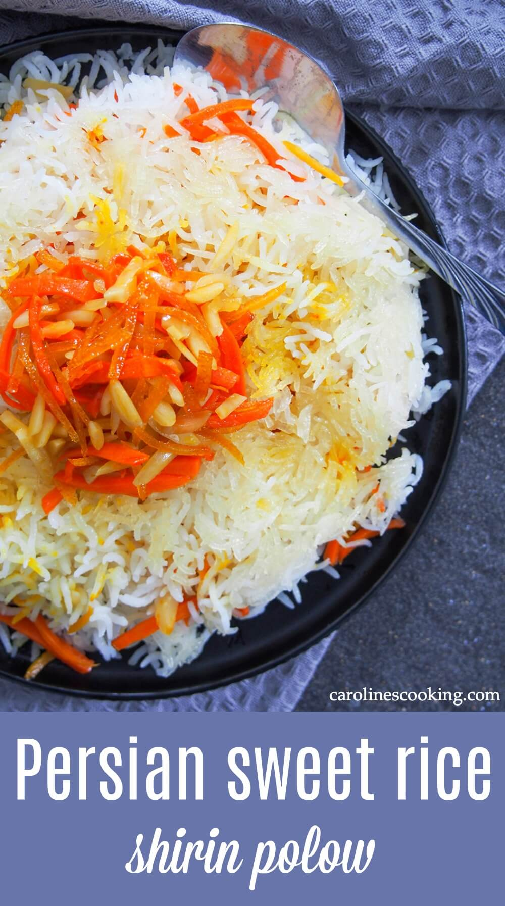 Persian sweet rice, shirin polow, is traditionally served at special occasions and it is indeed a special side. But it's one that you should definitely make an excuse to enjoy more often, it's so bright and delicious! #persianfood #rice #sweetrice #orangerice #sidedish